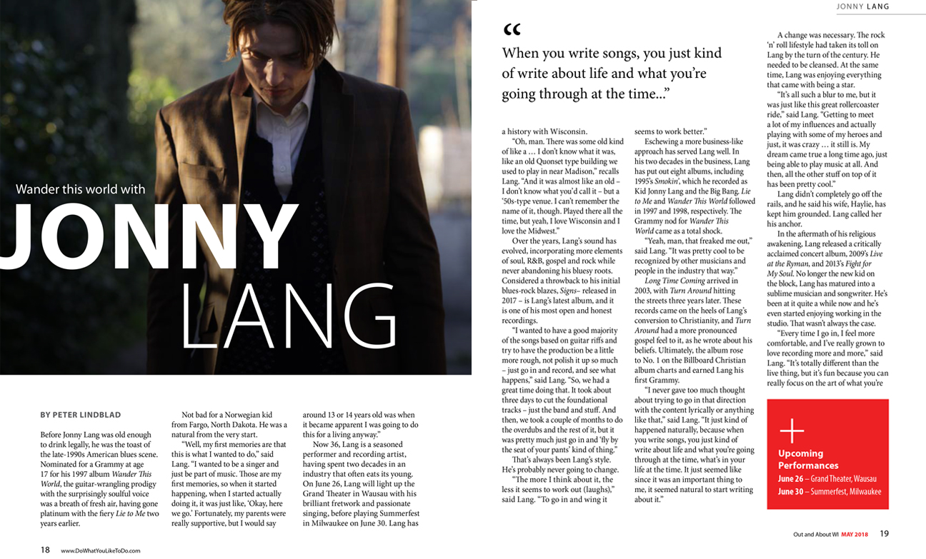 Jonny Lang from May 2018 Issue   Out & About Wisconsin